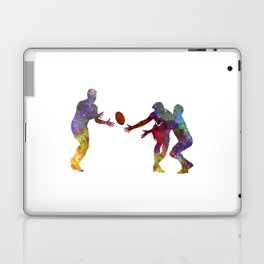 Rugby men players 02 in watercolor Laptop & iPad Skin