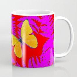 DECORATIVE RED-PURPLE FERNS & GOLDEN BUTTERFLIES Coffee Mug