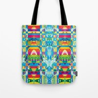 glitch Tote Bags featuring glitch by Xenia Pirovskikh
