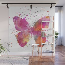 Artsy Butterfly colorful watercolor art Wall Mural