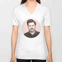 swanson V-neck T-shirts featuring Ron Swanson by Alexia Rose
