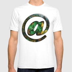 At Sign {@} Series - Cooper Std Typeface SMALL White Mens Fitted Tee