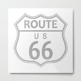 Route 66 Highway Sign Halftone Metal Print