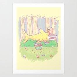 The Easter Bunny Shark Art Print