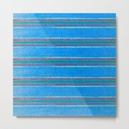 Abstract Minimal Thin Lines On Blue Metal Print