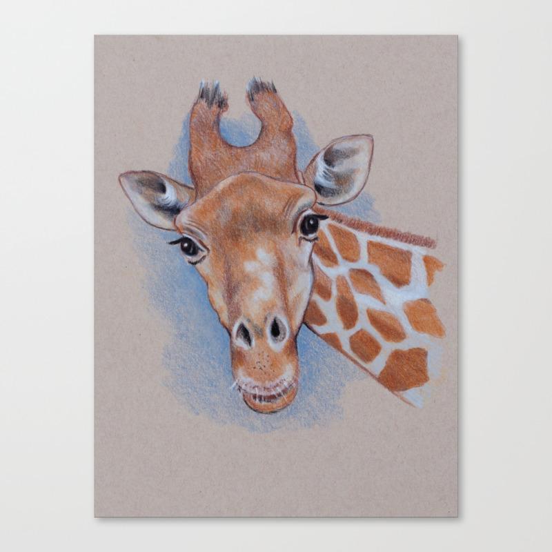 Giraffe Color Pencil Drawing Or A Giraffe Looking At You Canvas Print By Joyart Society6