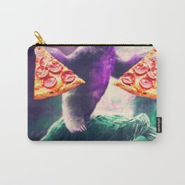 Funny Space Sloth With Pizza Riding On Turtle Carry-All Pouch