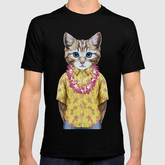 Portrait of Cat in summer shirt with Hawaiian Lei. by victorianovak