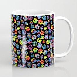 Rainbow Paw Print Watercolor Pattern Coffee Mug