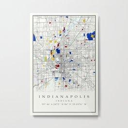 Indianapolis map poster print wall art | Indiana gift  | Modern map decor Metal Print