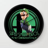 super smash bros Wall Clocks featuring Luigi - Super Smash Bros. by Donkey Inferno