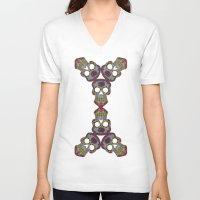 sugar skulls V-neck T-shirts featuring Sugar Skulls by Weeverbee