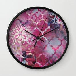 Mixed Media Layered Patterns - Deep Fuchsia Wall Clock