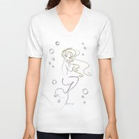 siren V-neck T-shirts featuring Siren by AmadeuxArt