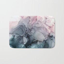 Blush and Payne's Grey Flowing Abstract Painting Bath Mat