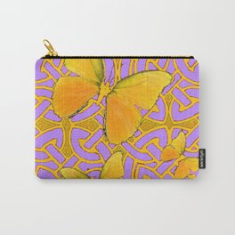 LILAC PURPLE YELLOW BUTTERFLIES CELTIC ART PATTERN Carry-All Pouch