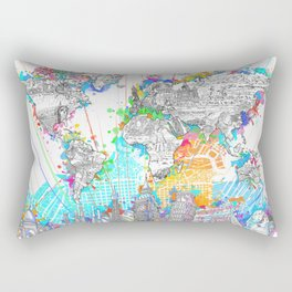 world map city skyline 6 Rectangular Pillow