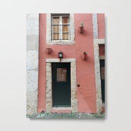 Pink door in Lisbon Portugal | Fine art travel photography print Metal Print