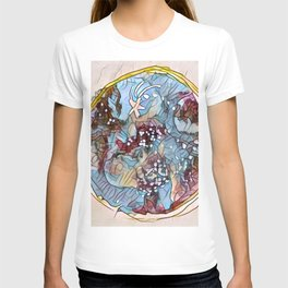 Star Galaxy Teal Purple Brown Mandala watercolor by CheyAnne Sexton T-shirt