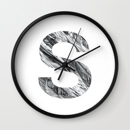 The Letter S- Stone Texture Wall Clock