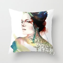 blossoming tattoos Throw Pillow