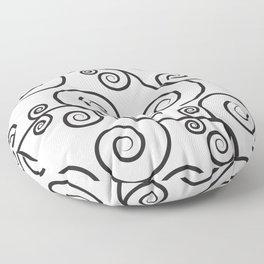 Black and White Swirls Abstact Minimal Pattern Floor Pillow