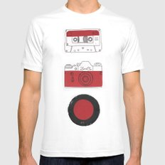Red And Black. MEDIUM White Mens Fitted Tee