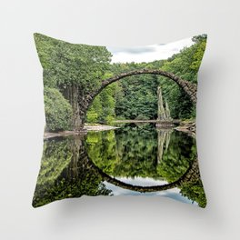 Historic Devil's Bridge Teufelsbrücke Azalea and Rhododendron Park Kromlau Gablenz Saxony Ultra HD Throw Pillow