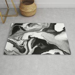Marbling effect - Digital fluid art #1 - Black  and white Rug