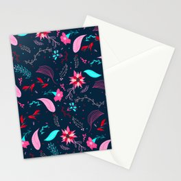Modern winter bright navy blue pink turquoise teal floral pattern illustration Stationery Cards