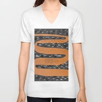 river V-neck T-shirts featuring river by crayon dreamer