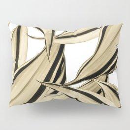 Dracaena Tropical Leaves Pattern Gold Black #1 #tropical #decor #art #society6 Pillow Sham