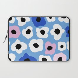 Pink Pop and Blue Contemporary Floral Pattern Laptop Sleeve