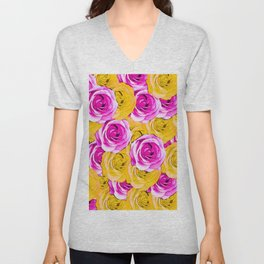 pink rose and yellow rose pattern abstract background Unisex V-Neck
