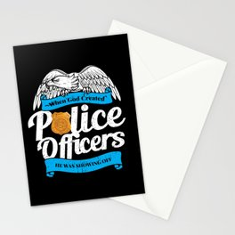 When God Created Police Officers Showing Off Stationery Cards