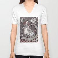 jon snow V-neck T-shirts featuring Alice's First Snow by Judith Clay
