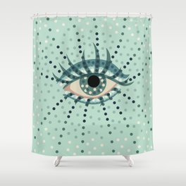 Dots And Abstract Eye Shower Curtain