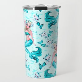 Pinup Mermaid with Merkittens Travel Mug