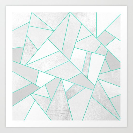 White Stone with Turquoise Lines Art Print