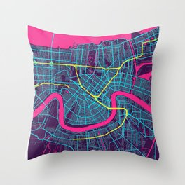 New Orleans Neon City Map, New Orleans Minimalist City Map Throw Pillow