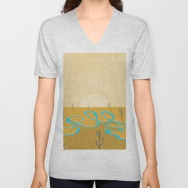 A stream of water in warm yellow desert Unisex V-Neck