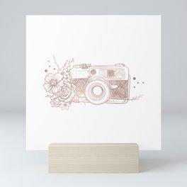Floral Camera Pink Rose Gold Mini Art Print