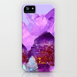 VIBRANT PURPLE AMETHYST CRYSTALS iPhone Case