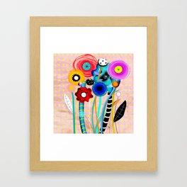 Yellow Polka Dots Floral Bouquet Framed Art Print