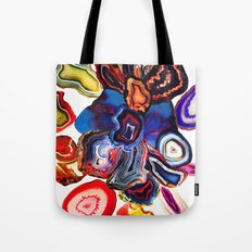 Semi-Precious Agate Burst, Earth's Core Flowers Tote Bag