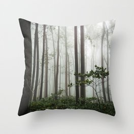 Great Smoky Mountains National Park - Forest Fog Adventure Throw Pillow