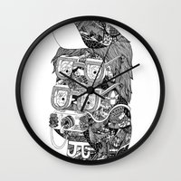 hipster Wall Clocks featuring hipster by Jess John