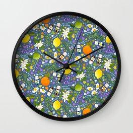 Essential Oils Love on Blue Wall Clock