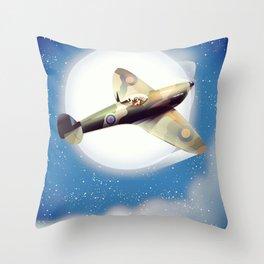 Spitfire at night Throw Pillow