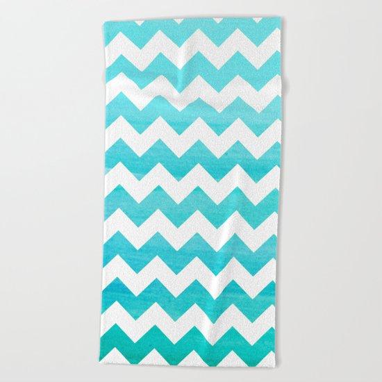 Aqua chevron - watercolor on white pattern Beach Towel